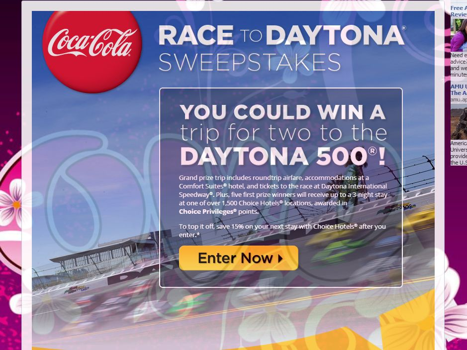 coca cola sweepstakes coca cola race to daytona sweepstakes sweepstakes fanatics 121