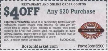 Boston Market $4 Off Coupon