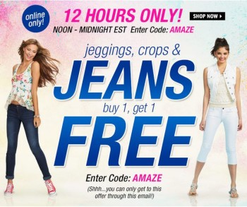 Delia's BOGO Free Jeans, Crops & Jeggings Coupon