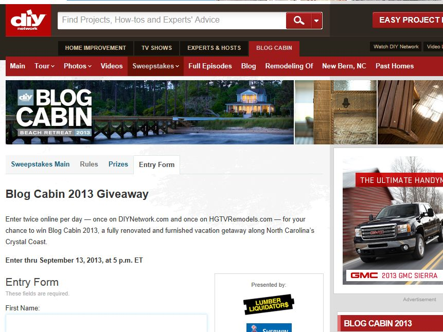 2013 DIY Network's Blog Cabin Sweepstakes : Sweepstakes Fanatics