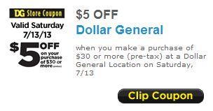 Dollar General $5 Off Coupon