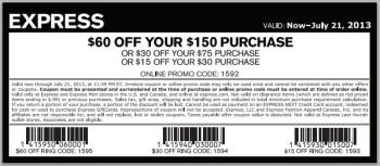 Express $15-$60 Off Coupon