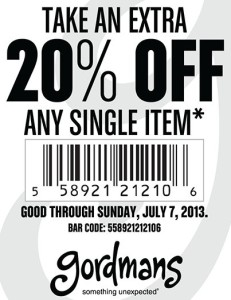 photograph about Gordmans Printable Coupon named Gordmans 20% Off Coupon