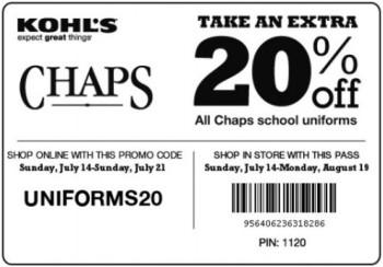 Kohl's 20% Off Chaps Coupon