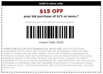 image relating to Epson Ink Coupon Printable identified as Staples $15 Off Ink Coupon