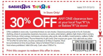 Toys R Us 30% Off Coupon