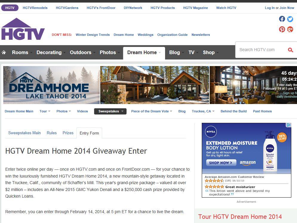 Enter HGTV Dream Home Sweepstakes