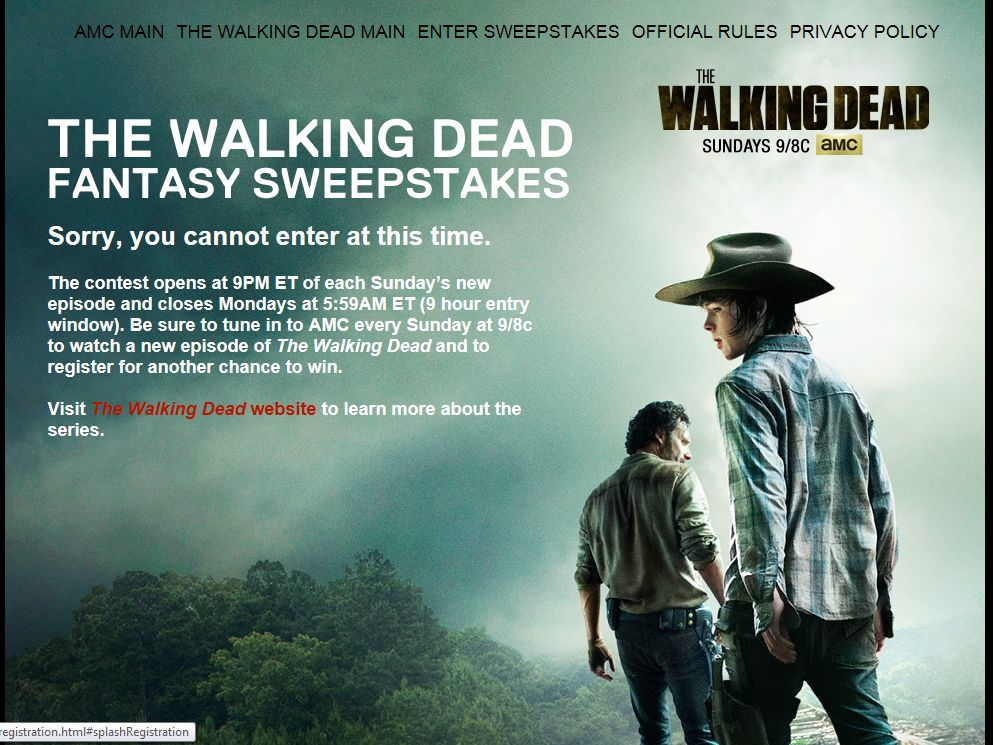 walking dead amc sweepstakes amc s the walking dead fantasy sweepstakes sweepstakes 8087