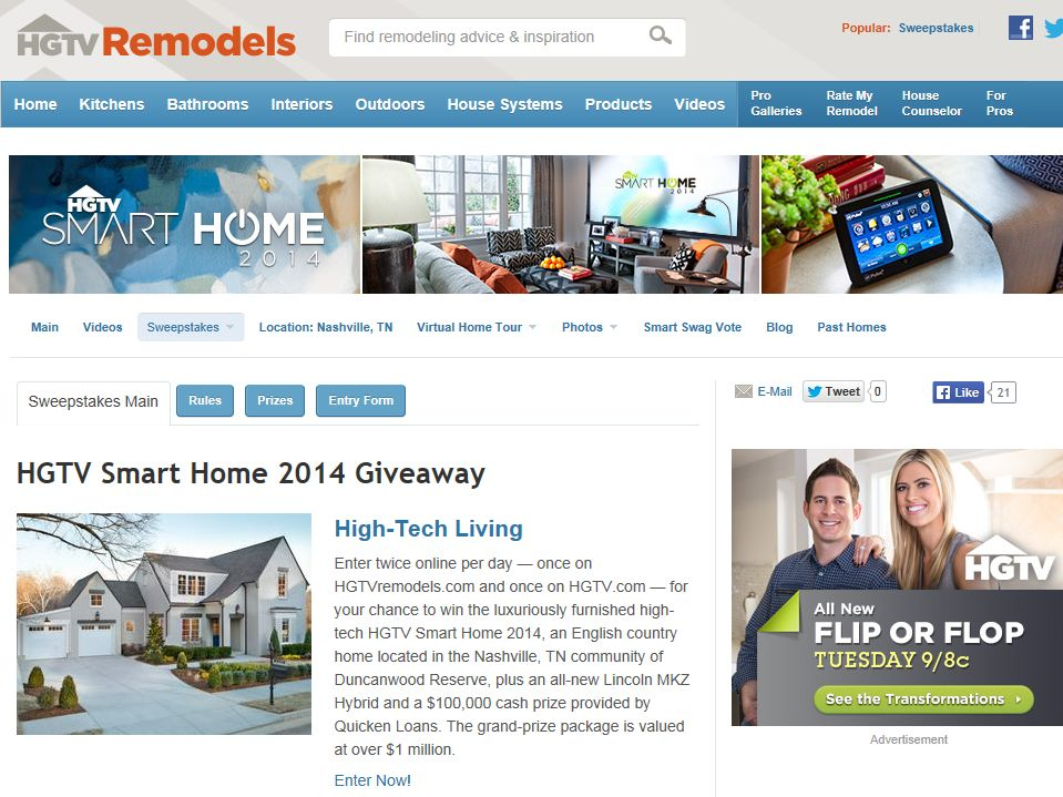 HGTV Smart Home 2014 Giveaway : Sweepstakes Fanatics