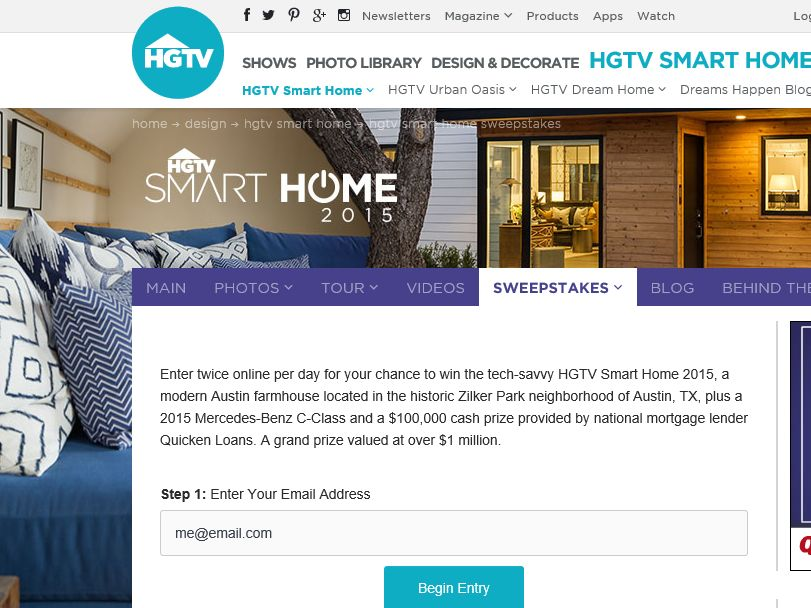 hgtv smart home giveaway 2015 sweepstakes sweepstakes fanatics. Black Bedroom Furniture Sets. Home Design Ideas