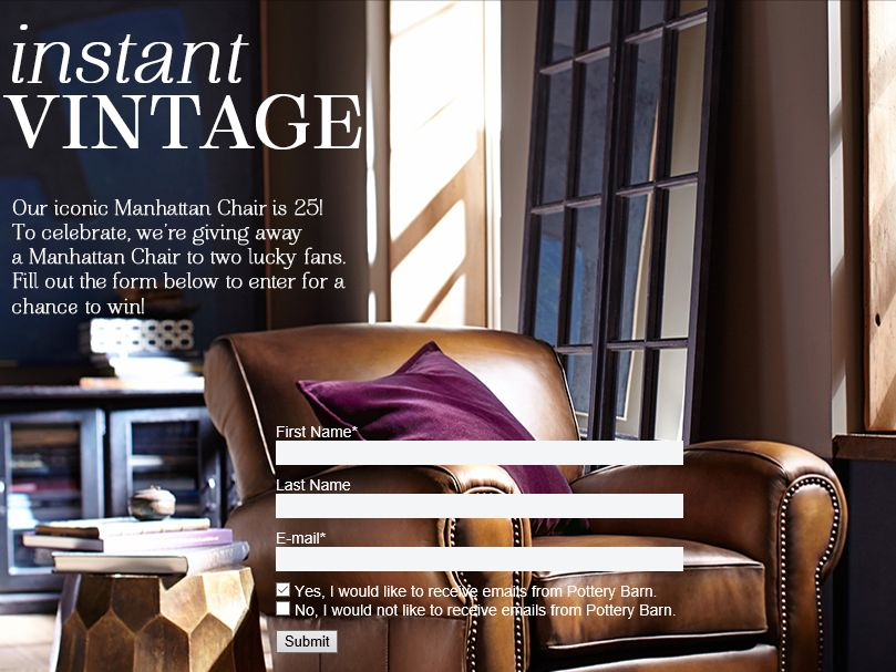 Pottery Barn Manhattan Chair Giveaway Sweepstakes Fanatics