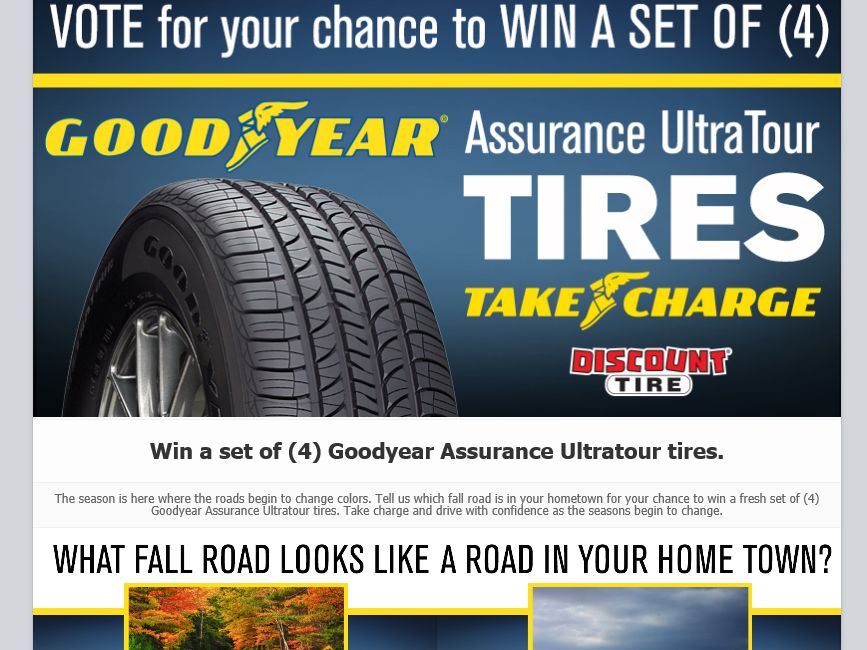 discount tires goodyear assurance ultratour tires sweepstakes sweepstakes fanatics. Black Bedroom Furniture Sets. Home Design Ideas