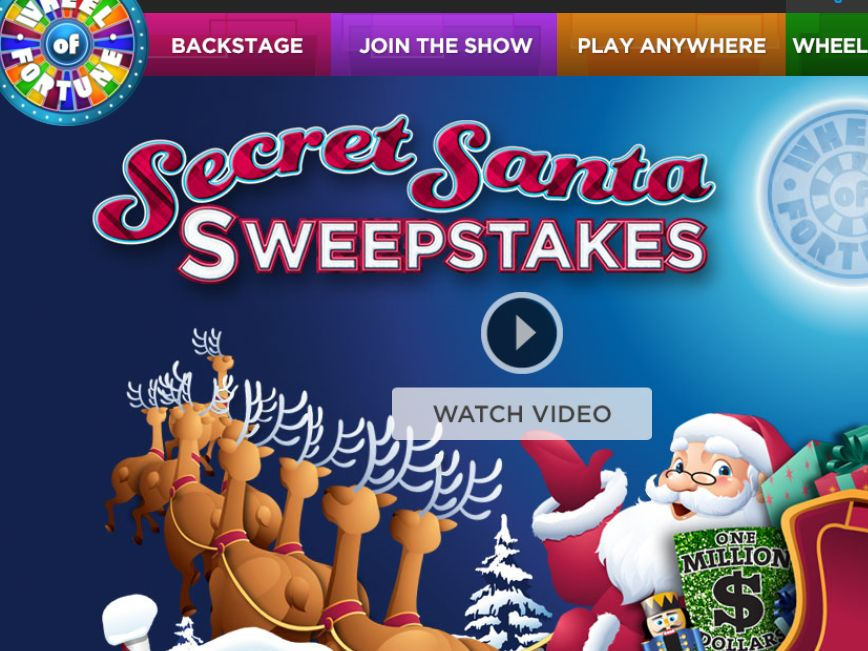 secret santa sweepstakes on wheel of fortune wheel of fortune secret santa spin id sweepstakes 5117
